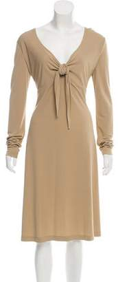 St. John Tie-Accented Long Sleeve Dress