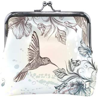 ALIREA Hummingbirds And Hibiscus Flowers Leather Coin Purse snap Closure Clutch Coin Wallet