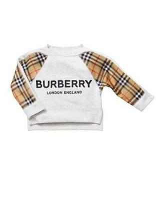 Burberry Mini Esther Check-Trim Sweatshirt, Size 3-14