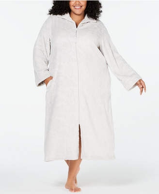 Miss Elaine Plus Size Burnout Fleece Zip Robe