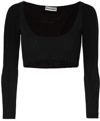 Molly Goddard Katie Cropped Mesh Top - Black