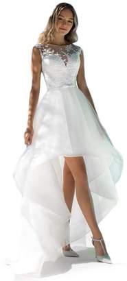 Liyuke Elegant High Low Beach Wedding Dresses Lace Appliques Bridal Dress Sheer Back US