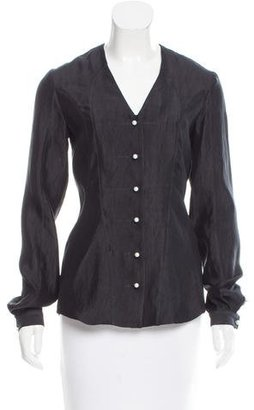 Thom Browne Paneled Long Sleeve Blouse $295 thestylecure.com