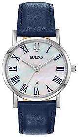 Bulova Women's Classic Slim-Profile Blue Leather Strap Watch