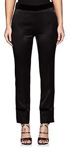 Lanvin Women's Velvet-Trimmed Satin Slim Trousers - Black