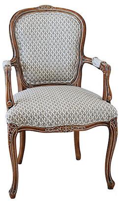 One Kings Lane Vintage 1950s Carved Wood Upholstered Armchair