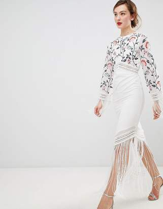 Frock And Frill Frock & Frill Long Sleeve Embroidered Dress With Fringed Detail