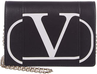 Valentino Vlogo Leather Wallet On Chain