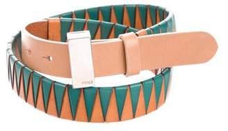 Fendi Patterned Leather Buckle Belt