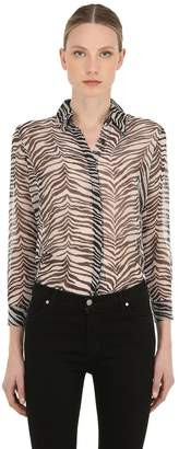Victoria's Secret The People PM SHEER ZEBRA PRINT RAYON SHIRT