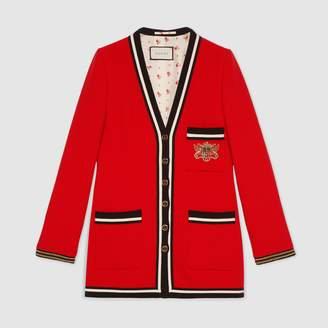 Gucci Wool sablé jacket with crest appliqué