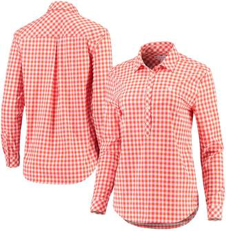 Unbranded Women's Sail Racing Orange Clemson Tigers Intercoastal Hadley Popover Gingham Long Sleeve Shirt