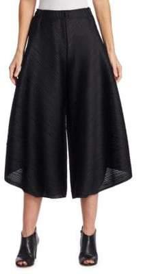 Pleats Please Issey Miyake Stripe-Textured Culottes