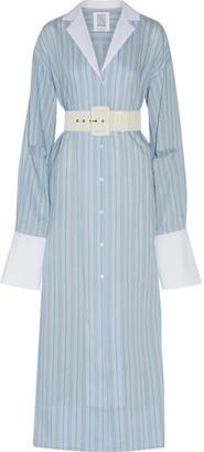 Schloppy Joe Belted Striped Cotton And Silk-blend Maxi Dress - Light blue