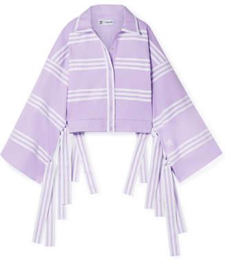 adidas Ji Won Choi Fringed Striped Cotton-blend Jersey Track Jacket - Lilac