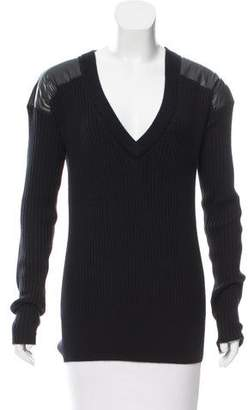Reed Krakoff Leather-Paneled Cashmere & Silk Sweater