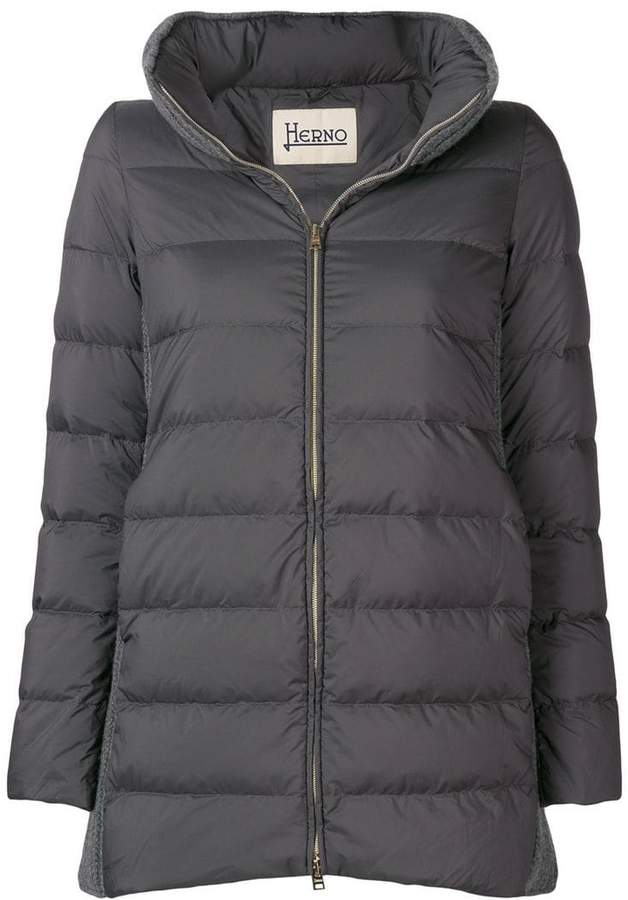 cable knit padded coat