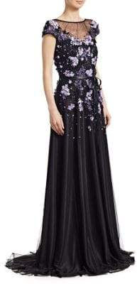 David Meister Embellished Cap-Sleeve Gown