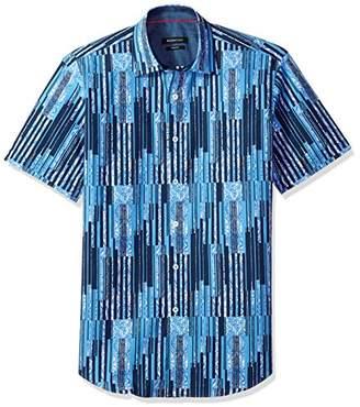 Bugatchi Men's Shaped Paisley Stripe Point Collar Short Sleeve Shirt