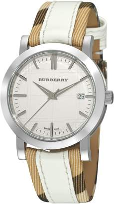 Burberry Women's BU1379 Nova Check Checked with Leather Strap Watch