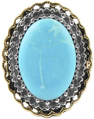 Artsmith BY BARSE Art Smith by BARSE Blue Howlite Oval Two-Tone Silver Over Bronze Statement Ring