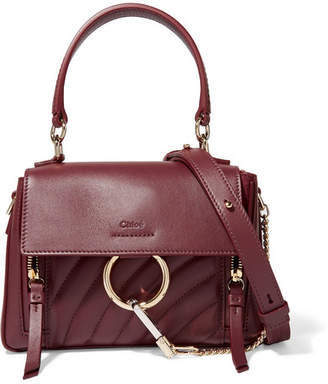 Chloé Faye Day Small Quilted Leather Shoulder Bag - Burgundy
