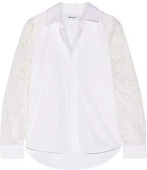 Dkny Paneled Lace And Cotton-Poplin Shirt