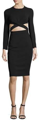 MICHAEL Michael KorsMichael Kors Collection Cutout-Midriff Long-Sleeve Cocktail Dress, Black