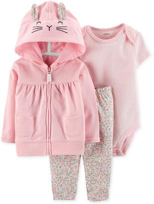 0b15164528 Carter s Carter Baby Girls 3-Pc. Cotton Bunny Hoodie