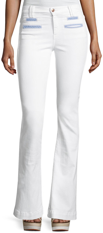 7 For All Mankind7 For All Mankind Tailored Chambray-Trim Trouser, White