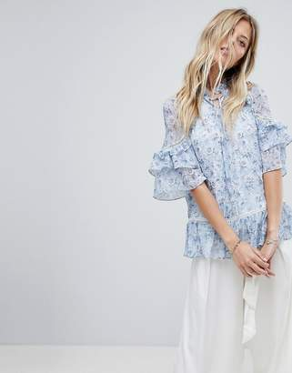 Forever New Layered Blouse In Floral Print
