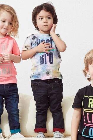 Boys Multicoloured Best Bro Tie Dye Short Sleeve T-Shirt (3mths-6yrs) - Black