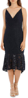 Navy Flounce Hem Lace Dress