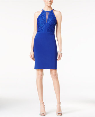 Nightway Lace Illusion Halter Dress $99 thestylecure.com