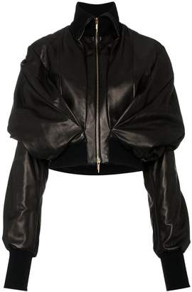 Poiret double layered leather bomber jacket
