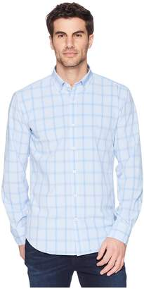 Bugatchi Shaped Fit Performance Plaid Woven Shirt Men's Long Sleeve Pullover