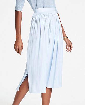 Ann Taylor Petite Shirred Midi Skirt