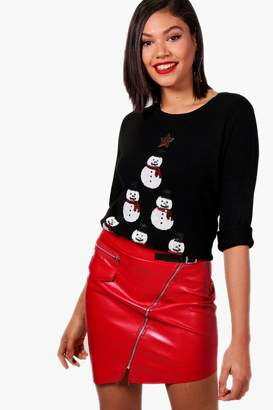 boohoo Sequin Snowman Tower Christmas Jumper