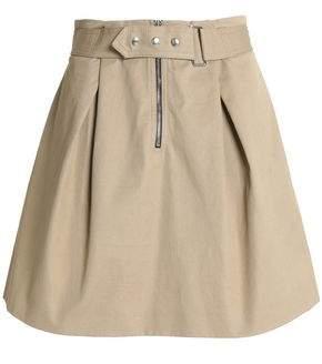Sandro Belted Pleated Cotton-Twill Mini Skirt