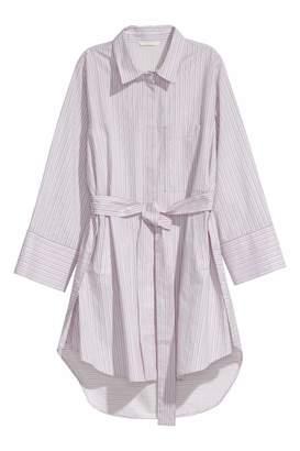 H&M Cotton Shirt with Tie Belt - White/red striped - Women