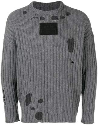 A-Cold-Wall* logo patch distressed sweater