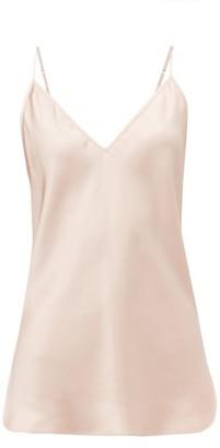 Lee Mathews - Stella V Neck Silk Satin Camisole - Womens - Light Pink