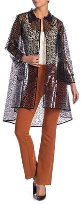 Gracia Front Button Leopard Print Raincoat