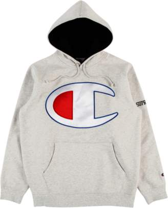 Ash Supreme Champion Satin Logo Hooded Swe Grey