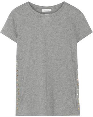 Valentino The Rockstud Embellished Cotton-jersey T-shirt