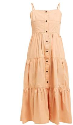 Solid & Striped Tiered Cotton Dress - Womens - Tan