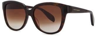 Alexander McQueen Dark Brown Oversized Sunglasses