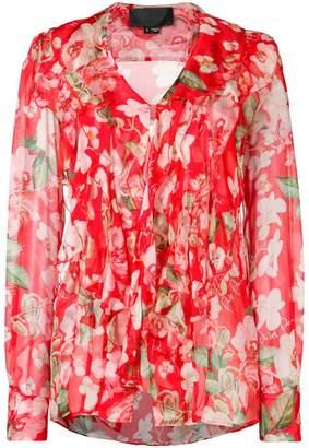 Philipp Plein floral logo print blouse