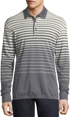 Ermenegildo Zegna Long-Sleeve Striped Polo Shirt