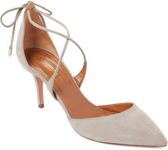 Aquazzura Light Grey Matilde Crisscross Suede Pumps